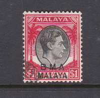 Malaya B.M.A  SG 15 1945 British Military Administration, $ 1.00 King George VI Black And Red - Malaya (British Military Administration)