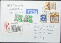 Slovakia - Registered Cover 1st Class To Germany Roman Legions In Trencin 2005 - Slowakije