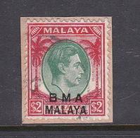 Malaya B.M.A  SG 16 1945 British Military Administration,$ 2.00 Green And Scarlet,used - Malaya (British Military Administration)