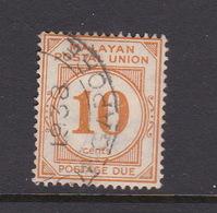 Malayan Postal Union D14 1936 Postage Due 10c Yellow-orange, Perf 14,used - Malaya (British Military Administration)