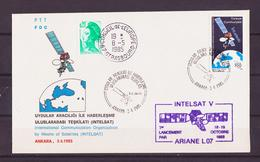 """ESPACE - 1985/04 - Turquie - 1er Jour Du Timbre """"satellite Intelsat"""" - 1 Document - FDC & Commemoratives"""