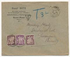 Enveloppe Depuis St Pons (Hérault) Pour Puisserguier (Hérault) Non Affranchie, Taxée 3 Francs - Postage Due