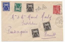 Enveloppe Depuis St Thiret (Hérault) Pour Puisserguier (Hérault), 1944,  Taxée 1,80 Francs - Postage Due