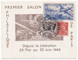 """Petit Carton Avec Vignette """"Premier Salon Philatélique De Paris"""" 1946 - Commemorative Labels"""