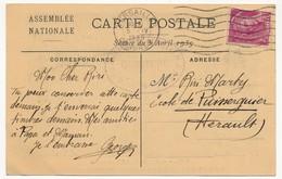 """Carte Postale Assemblée Nationale Avec OMEC """"Versailles Congrès"""" 5.4.1939 - Frappes Faibles - Postmark Collection (Covers)"""