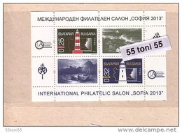 "2013   Int. Philatelic Salon ""Sofia – LIGHTHOUSES  S/S – MNH  BULGARIA/ Bulgarie - Unused Stamps"