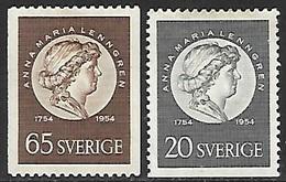 Sweden  1954  Sc#466-7   Better Lenngrens  MLH   2016 Scott Value $6.75 - Sweden