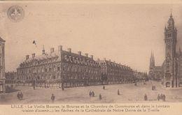 Cp , 59 , LILLE , La Vieille Bourse, La Bourse Et La Chambre E Commerce, Les Flèches De La Cathédrale - Lille