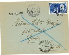RHONE ENV 1950 VILLEFRANCHE SUR SAONE 25F ST WANDRILLE SEUL SUR L => SUISSE ET RETOUR - 1921-1960: Modern Period