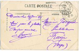 BOUCHES DU RHONE CP 1915 MARSEILLE HOPITAL BENEVOLE 132BIS Hôtel-Restaurant Du Château Des Fleurs, Rond-point Du Prado - - Postmark Collection (Covers)
