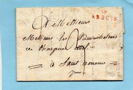 """Linéaire Rouge """"38 ARBOIS"""",L.A.C. Du 25/12/1812 Pour Dt AMOUR (Jura). - Postmark Collection (Covers)"""