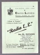 (TSF)   Bègles-Bordeaux (33 Gironde) Prospectus RADIO LL  JOS CH DUCUING  1955-56 (PPP9116) - Publicités