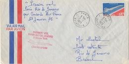 ENVELOPPE Avec Timbre CONCORDE Premier Vol Paris-Rio De Janeiro AIR FRANCE 1976 - Avions