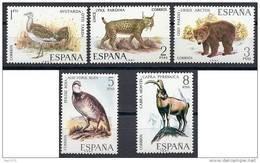 ESPAÑA 1971 FAUNA 5 SELLOS - EDIFIL Nº 2036-2040 - YVERT 1691-1695 - Animalez De Caza