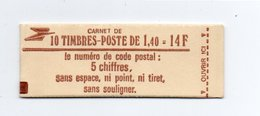 - FRANCE - Carnet N° 2102-C3a Type Sabine - 1,40 Fr. Rouge - 10 Timbres GOMME MATE - Conf. 5 - Cote 25 EUR - - Usage Courant