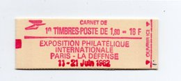 - FRANCE - Carnet N° 2187-C2a Type Liberté - 1,60 Fr. Rouge - 10 Timbres GOMME MATE - Cote 35 EUR - - Usage Courant