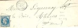 1869- Lettre D' AULNAY-S-ODON ( Calvados ) Cad T16 Affr. N°29 Oblit. G C 223 - Au Dos, Bureau De Passe 691 - 1849-1876: Période Classique