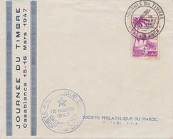 MAROC  Lettre  Journée Du Timbre  Casablanca  Mars 1947 - Maroc (1891-1956)