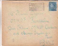 Belgique - Lettre De 1947 ° - Oblit Bruxelles - Exp Vers Paris - Poortman - Hôtellerie - Cachet Rouge A.X. - Valeur 10 € - Cartas