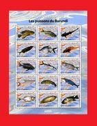 BURUNDI 2009 - FISH FISHES OF BURUNDI POISSON POISSONS DU BURUNDI - RARE - S/S - MNH ** - Burundi