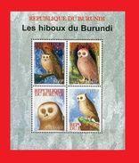 BURUNDI 2009 - HIBOU HIBOUX OWL OWLS BIRD BIRDS OISEAU OISEAUX NOCTURNE NOCTURNES - RARE - FULL SET - MNH - Burundi