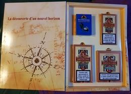 Coffret Publicitaire Cigares Mercator Avec Trois Boîtes Complètes Et Boussole - Sigaren - Toebehoren
