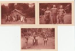3 CPA COTE D'IVOIRE  INDIGENES GRIMES PIROGUIERS TOUCAN - Ivory Coast
