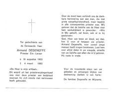 P 592. E.H. ARMAND DEGENEFFE - Priester / Ere-Leraar -° 1903 /+1983 - Imágenes Religiosas