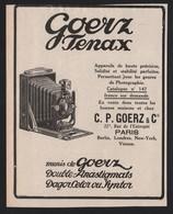 Pub Papier 1912 Appareil Photo GOERZ TENAX PHOTOGRAPHIE - Publicités