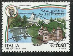 ITALIA REPUBBLICA ITALY REPUBLIC 2008 LE REGIONI D'ITALIA VALLE D'AOSTA VALLEE D'AOSTE USATO USED OBLITERE' - 2001-10: Used