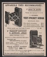 Pub Papier 1916 Appareil Photo KODAK Photographie Vest Pocket - Publicités