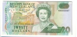 Nuova Zelanda NEW ZEALAND 20 Dollars 1992 Numeri Bassi AB000087 UNC Pick 179 LOTTO 2247 - Nuova Zelanda