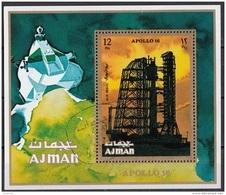 Bf. 301A Ajman 1971 Space Missione Apollo 16 NASA Saturno V Perf. CTO - FDC & Commemoratives