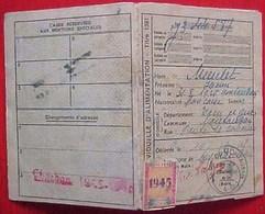 WW2 CARTE INDIVIDUELLE D ALIMENTATION 1945 , Titre 1931 , Nominative  HENRI MEULET MONTAUBAN , Avec COUPONS D'origine - Documents Historiques