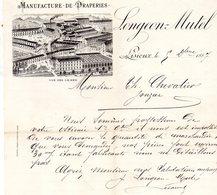 14 LISIEUX FACTURE COURRIER ILLUSTREE DU 09/12/1887 MANUFACTURE DE DRAPERIES A LISIEUX POUR TH CHEVALIER A JONZAC - France