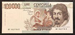 100000 Lire Caravaggio I° Tipo 1993 F  Q.fds Ottimo Biglietto LOTTO 2251 - [ 2] 1946-… : Repubblica