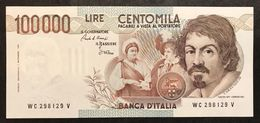 100000 Lire Caravaggio I° Tipo Serie C 1986 Sup/fds Lotto.2252 - [ 2] 1946-… : Républic