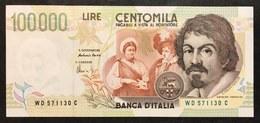 100000 Lire CARAVAGGIO 2° TIPO SERIE D 1997 Sup/fds LOTTO 2257 - [ 2] 1946-… : Repubblica