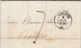 Lettre Entête Martial Ardant Librairie Cachet LIMOGES Haute Vienne 3/7/1836 Taxe Manuscrite Pour Carpentras Vaucluse - Marcophilie (Lettres)