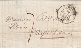 Lettre Entête Martial Ardant Librairie Cachet LIMOGES Haute Vienne 16/2/1837 Taxe Manuscrite Pour Carpentras Vaucluse - Marcophilie (Lettres)