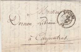 Lettre Entête Martial Ardant Librairie Cachet LIMOGES Haute Vienne 26/9/1836 Taxe Manuscrite Pour Carpentras Vaucluse - Marcophilie (Lettres)