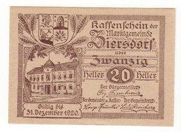 Gutschein Kattenschein 1920 - 20 Heller - 2 Scans Recto-verso - Oesterreich