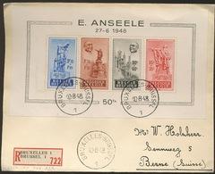 Bloc 26 Anseele  Sur  Lettre Recommandée Vers Suisse, Cachets Au Verso    RARE - Covers & Documents