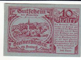 Gutschein Steinerkirchen 1920 - 10 Heller - 2 Scans Recto-verso - Oesterreich