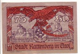 Gutschein Kattenberg In Tirol Kassenschein 1920 - 75 Heller - 2 Scans Recto-verso - Oesterreich