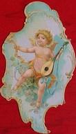 XIX° CHROMO AMOUR De PETIT ANGE , ANGELOT MUSICIEN , VICTORIAN ANGEL CUPID CHERUB  DIE CUT SCRAP - Anges