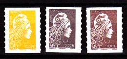 France 2018, 3 Timbres,  0.01,  0.05 Et 0.10 €  / Adhésif / Marianne L'engagée - Nuevos