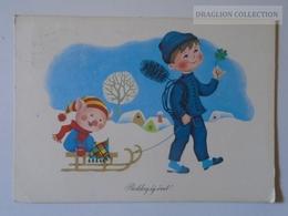 D160939 Pig On Sledge - New Year Card  Hungary  Muzsay András  Folk Singer Signature - To Széchy Ágnes Journalist 1971 - Cochons