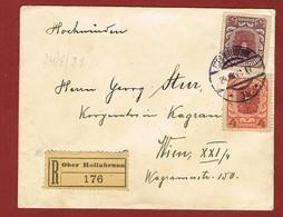 Brief Reco Ober-Hollabrunn - Wien Porto 9 Kronen 1921;  2 Scan - 1918-1945 1. Republik