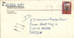 Kuwait Cover Sent To Sweden 21-11-1989 Single Franked - Kuwait